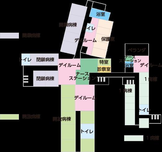 1・3病棟の案内図